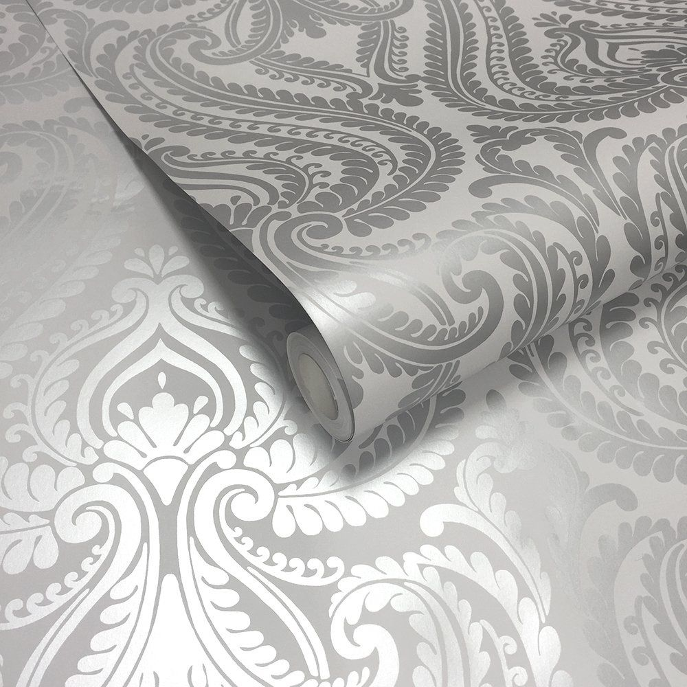 Shimmer Damask Wallpaper Soft Grey Silver Feature wall