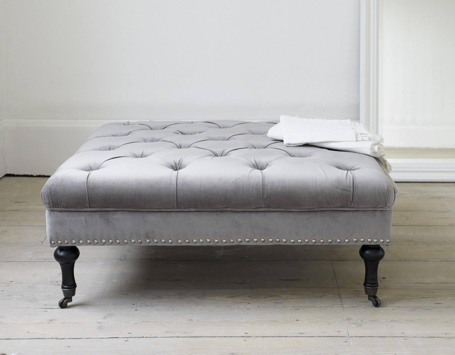 Marvelous Padded Ottoman Bench Part - 8: A Stunning Button-top Square Ottoman Coffee Table In A Luxurious Cotton  Velvet With Hand