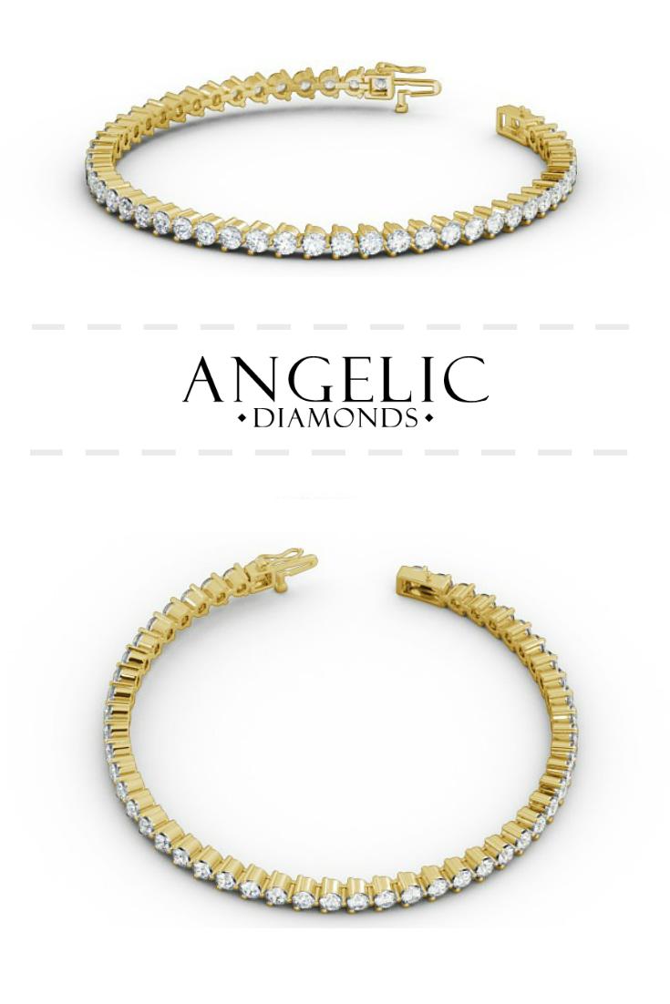Tennis Bracelet Round Diamond Three Claw 18k Yellow Gold Francesca Tennis Bracelet Diamond Diamond Necklace Designs Swarovski Bracelet