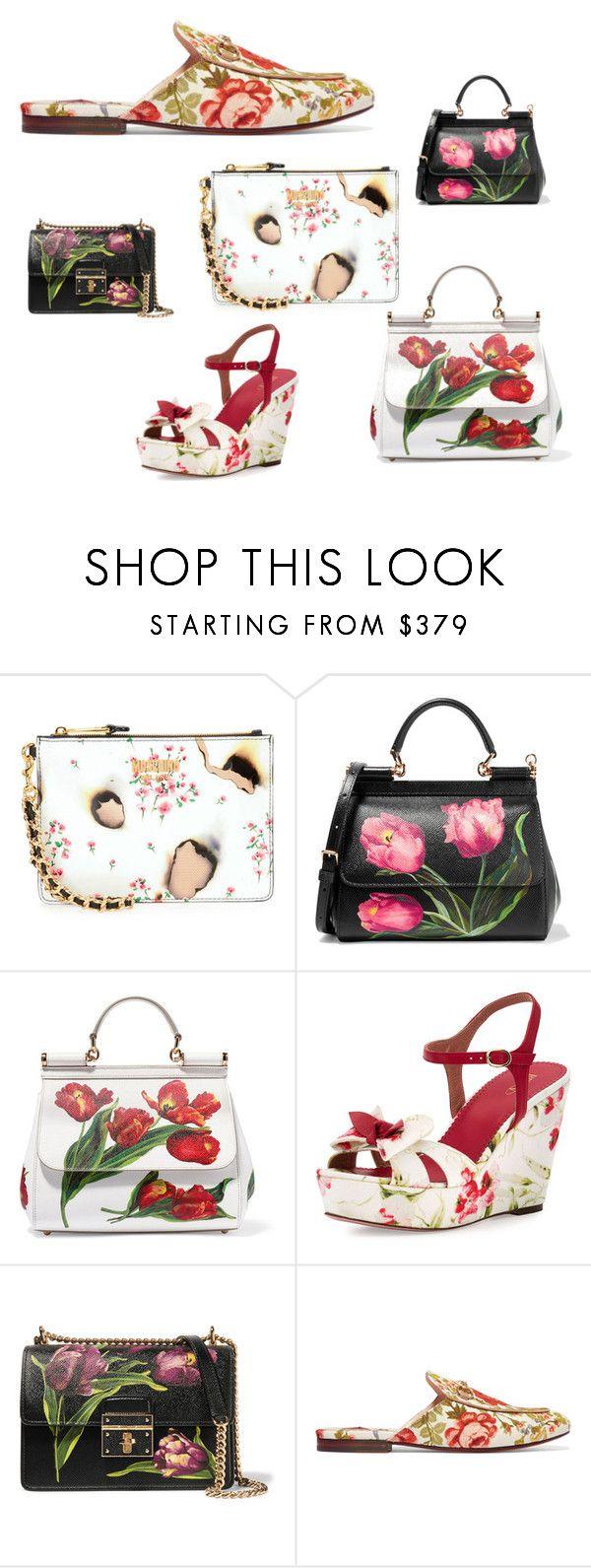 """floralprint"" by curvysalad on Polyvore featuring Mode, Moschino, Dolce&Gabbana, RED Valentino und Gucci"