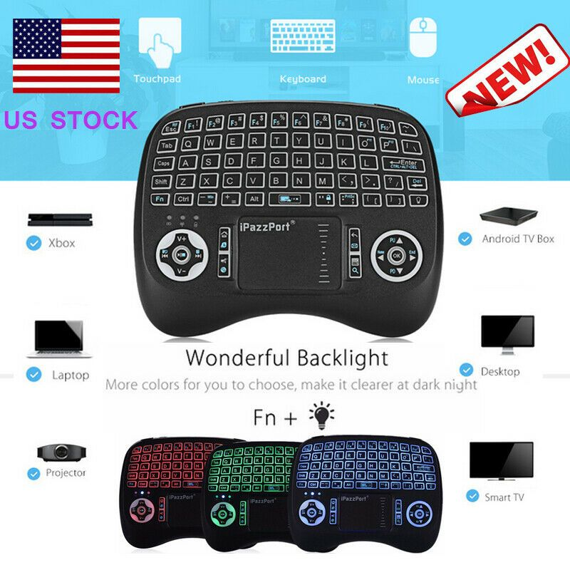 Calvas 10pcs i8 keybard Mini Wireless Keyboard 2.4G Air Mouse English Russian 7 colour with Touchpad Remote Control Android TV Box 8.1 Color: Spanish Backlit