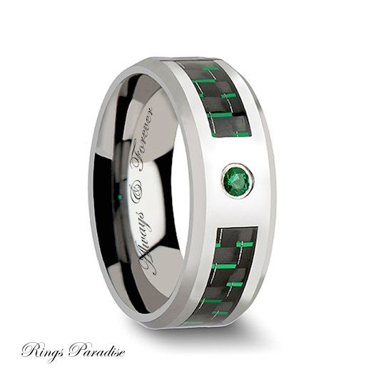 Mens Wedding Band Emerald Ring Tungsten Por Ringsparadise