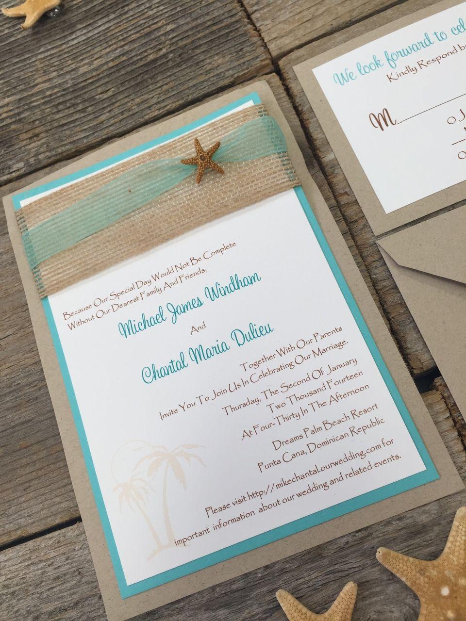 Seaside Invitation | Starfish, Beach wedding invitations and Burlap