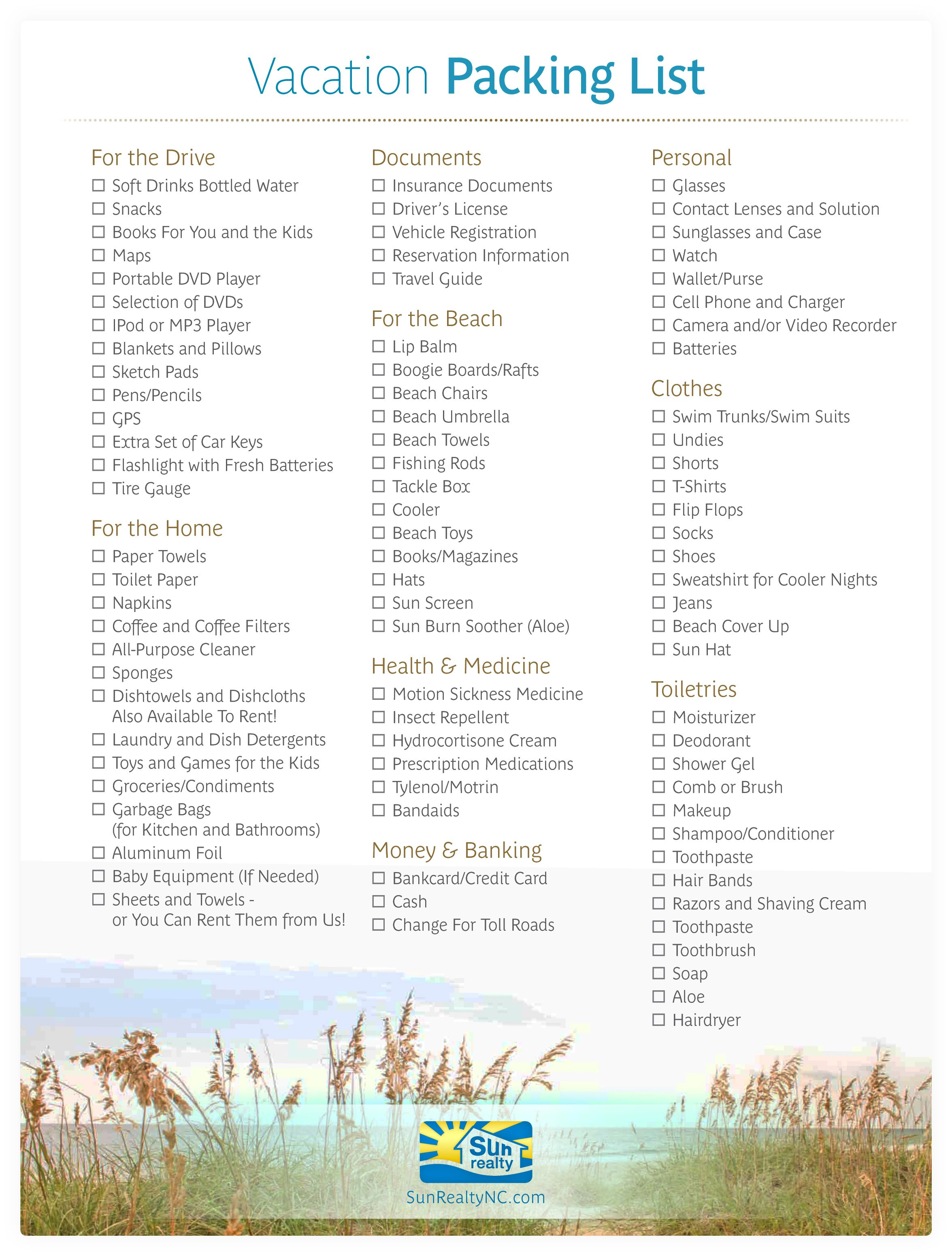Use Our Handy Vacation Checklist To Help You Pack For Your Outer Banks Nc Vacation Vacation Checklist Outer Banks Nc Packing List For Vacation