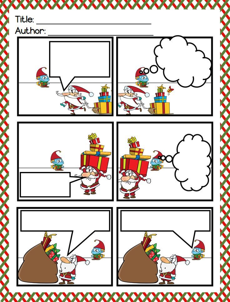 Christmas Writing Santa Claus and His Elves Comic Strips - comic strip template
