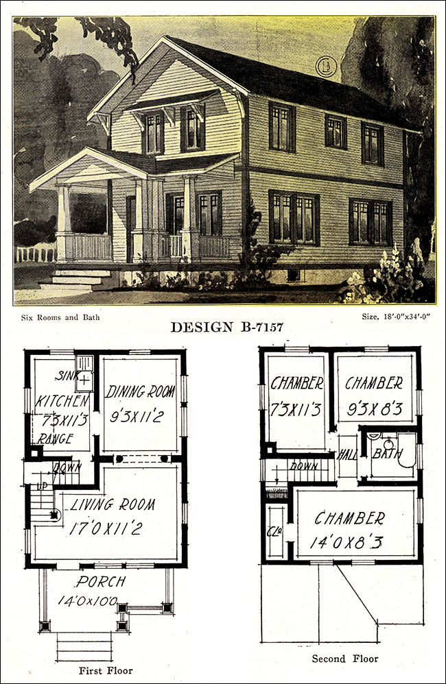Artistic Two Story Plan With Facing Gable 1918 Modern American Homes By The C L Bowes Co Of Chic Craftsman House Plans Vintage House Plans Edwardian House