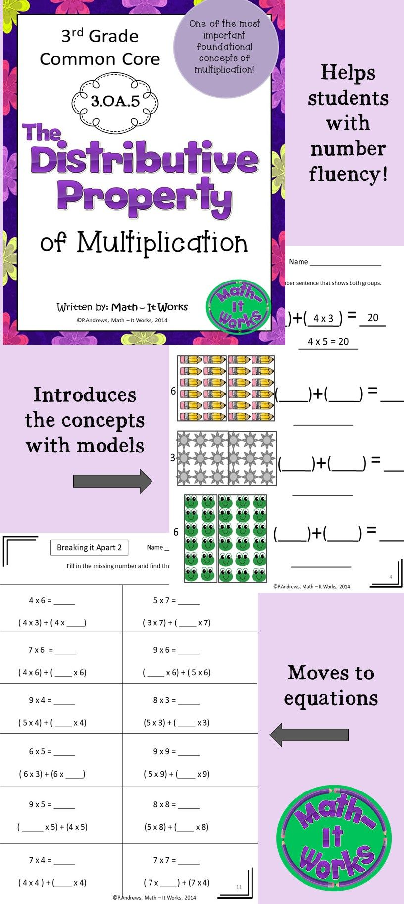 3rd Grade Distributive Property 3.OA.5 Distance Learning
