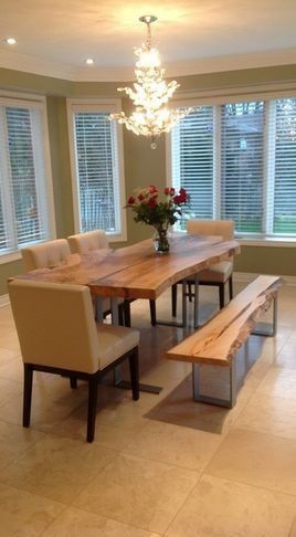 Tree Trunk Table And Bench  Cool Stuff  Pinterest  Tree Trunk Extraordinary Tree Trunk Dining Room Table Review