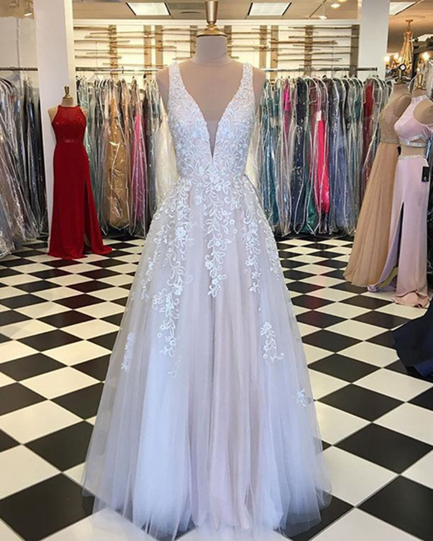 White Tulle V Neck Long Halter Senior Prom Dress With
