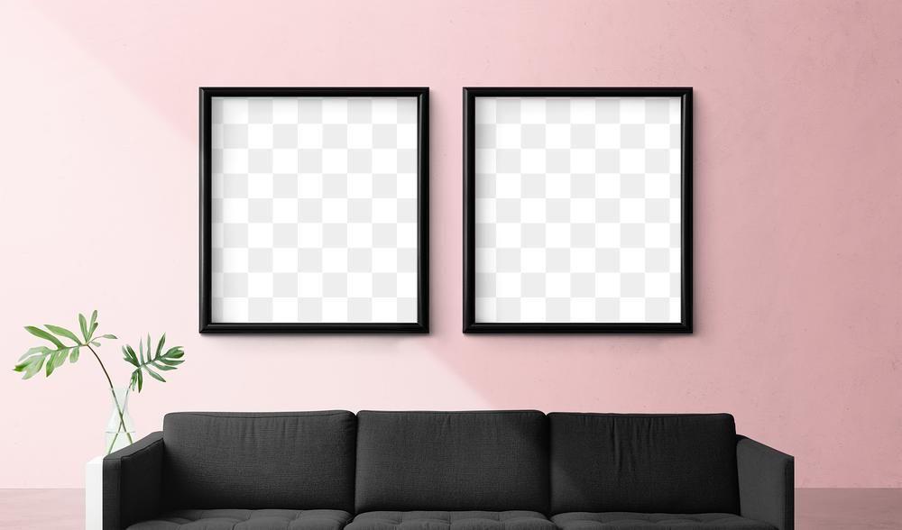 Download Premium Png Of Two Blank Picture Frames Mockup In A Pink Living Frame Mockups Pink Living Room Frame