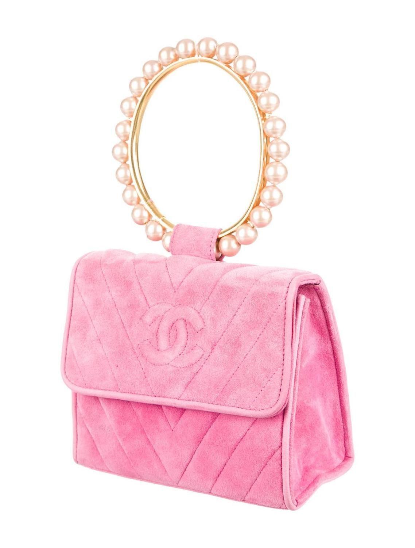 Chanel Pink Suede Handbag With Pearl Handle | Chanel pink