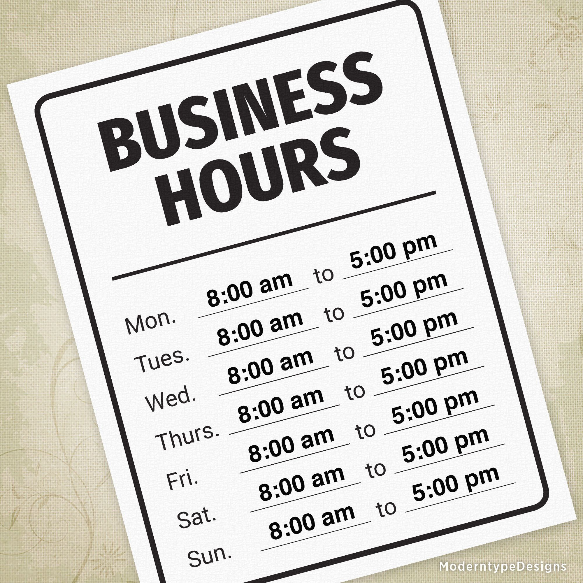 Business Hours Printable Sign Operation Professional Open Etsy In 2021 Business Hours Sign Printable Signs Business Hours Sign Template