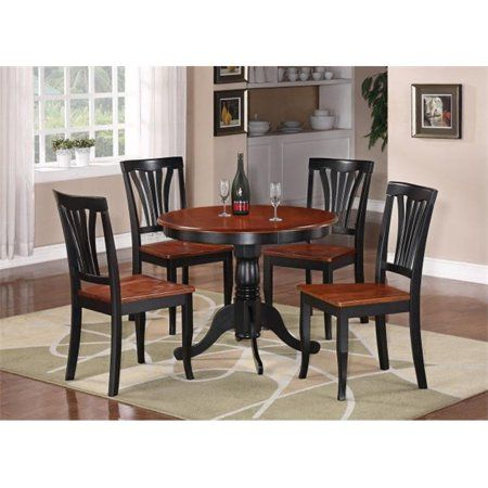 East West Furniture ANAV3 BLK W 3  Piece Round Kitchen 36 Inch Table And 2  Chairs With Wood Seat In Black U0026 Cherry Finish #primitivediningrooms