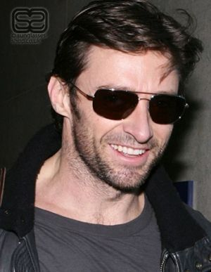d6c1b3c818c1 Hugh Jackman looking like a fierce wolverine with aviator sunglasses ...