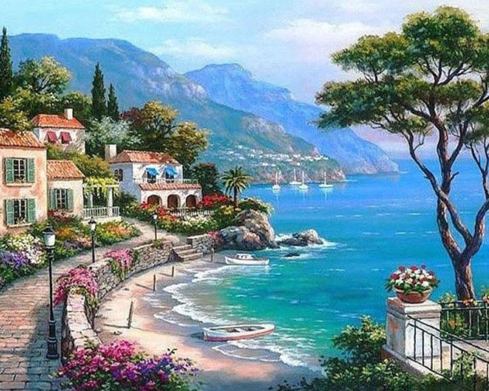 Coffee morning Paint by numbers kit  Mountain view Paint landscape painting with lake paint DIY painting for adult frame original canvas