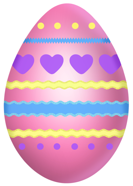 Easter Pink Egg with Hearts PNG Clipart Picture