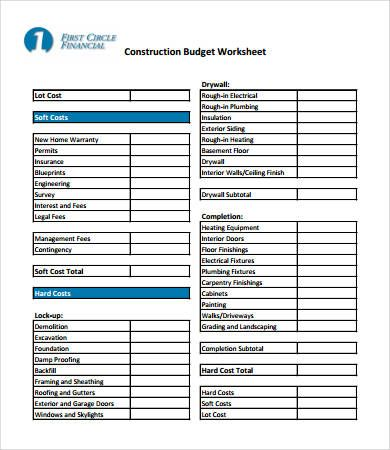 Home Construction Budget Worksheet  Home Budget Template