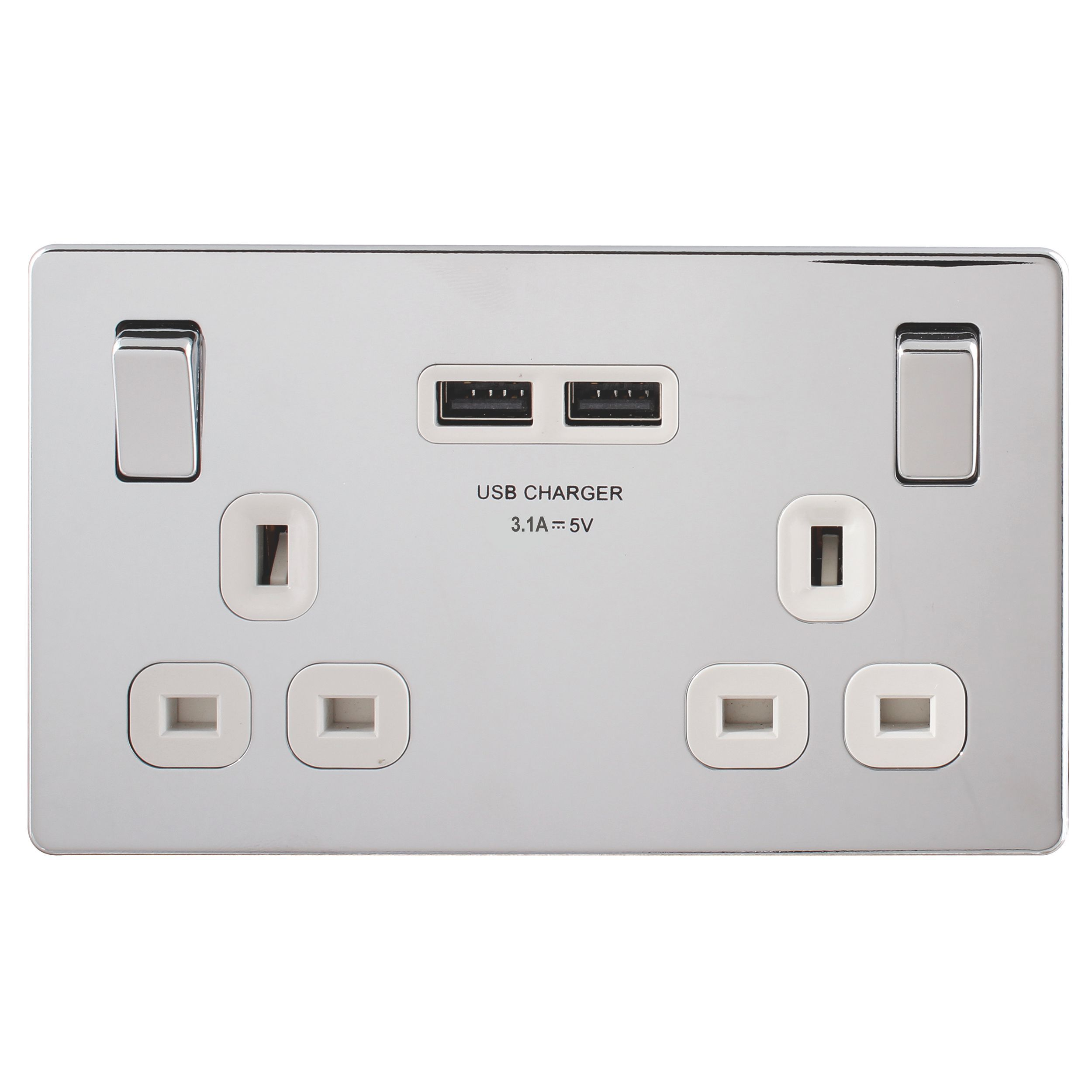 Colours 13a Chrome Effect Switched Socket Usb Charger