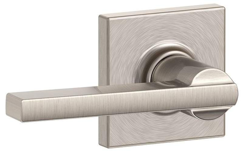 Schlage F10-LAT-COL Latitude Passage Door Lever Set with Decorative Collins Rose Satin Nickel Leverset Passage