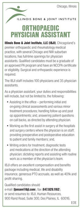Orthopaedic Physician Assistant Job In Chicago Illinois  News
