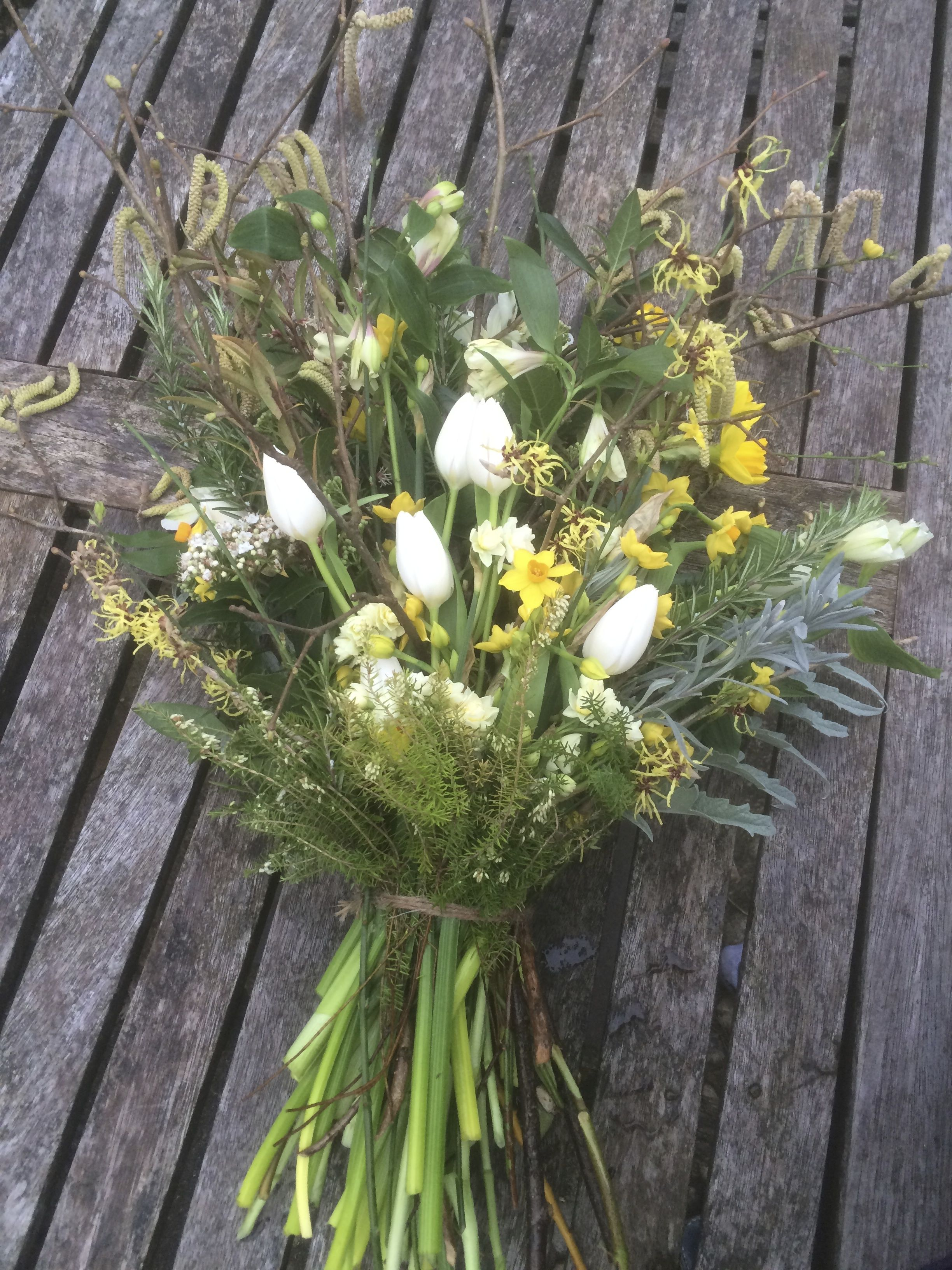Late Winter Sheaf Of British Grown Spring Flowers For A Natural