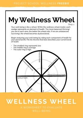 Wellness Wheel Freebie Health Education School wellness Lesson Plan Project School Wellness