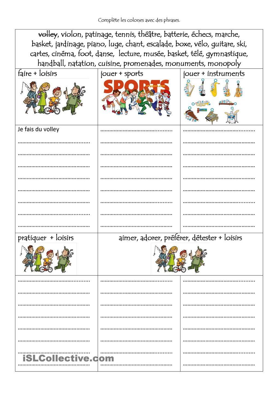 activites de loisirs   Sports/Loisirs   Pinterest   French teacher ...