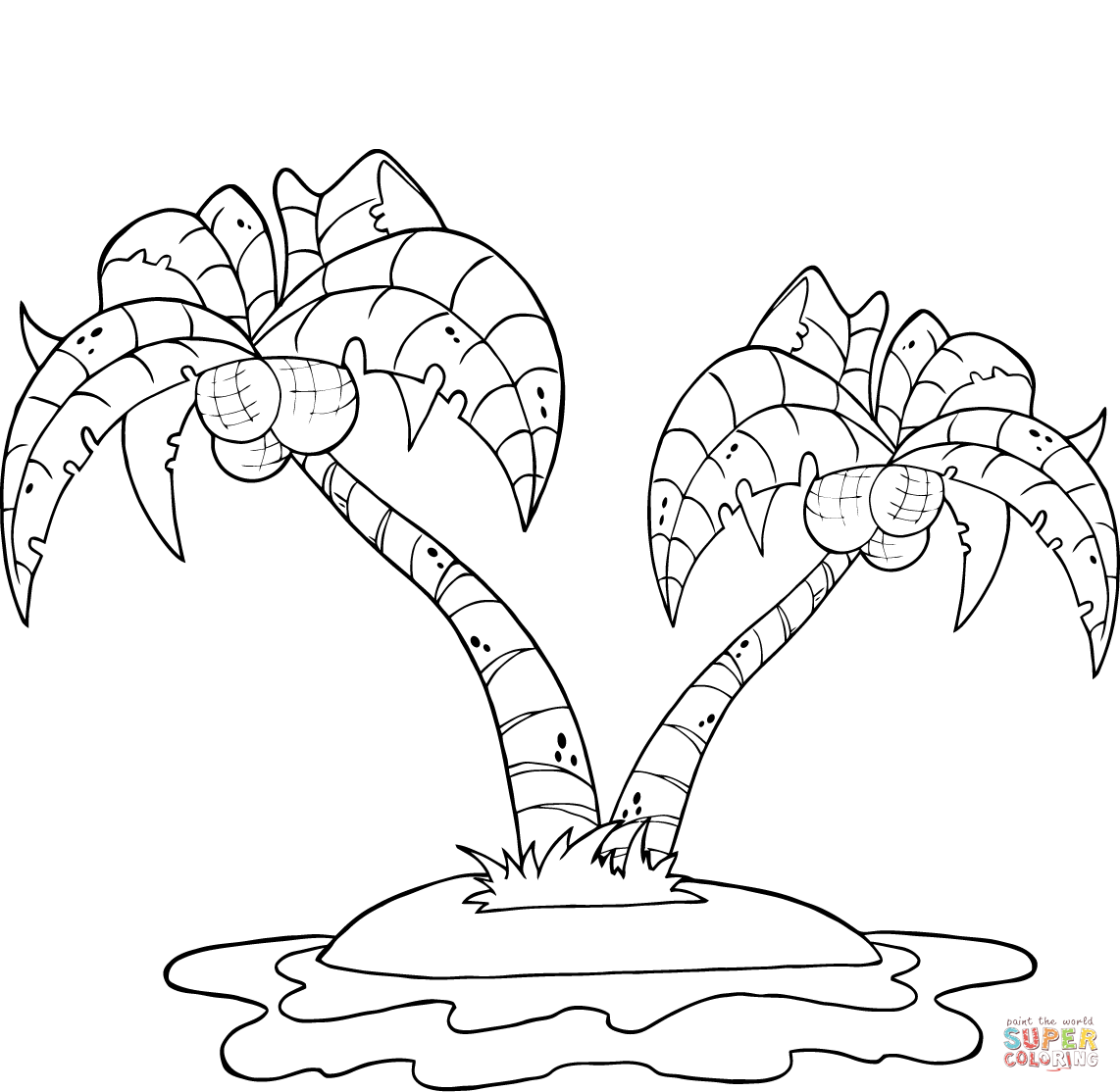 Coconut Palm Trees On Island Super Coloring Tree Coloring Page Leaf Coloring Page Beach Coloring Pages