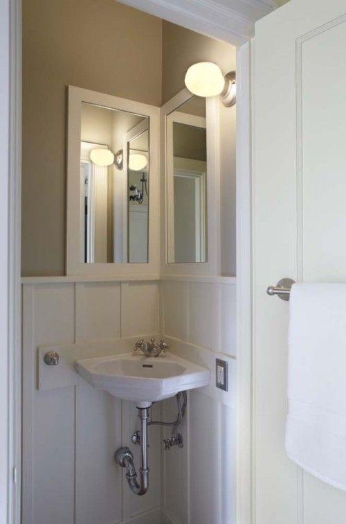 Corner Sink Small Guest Bathroom  Bathroom Renovation  Pinterest Unique Bathroom Bazaar Design Decoration