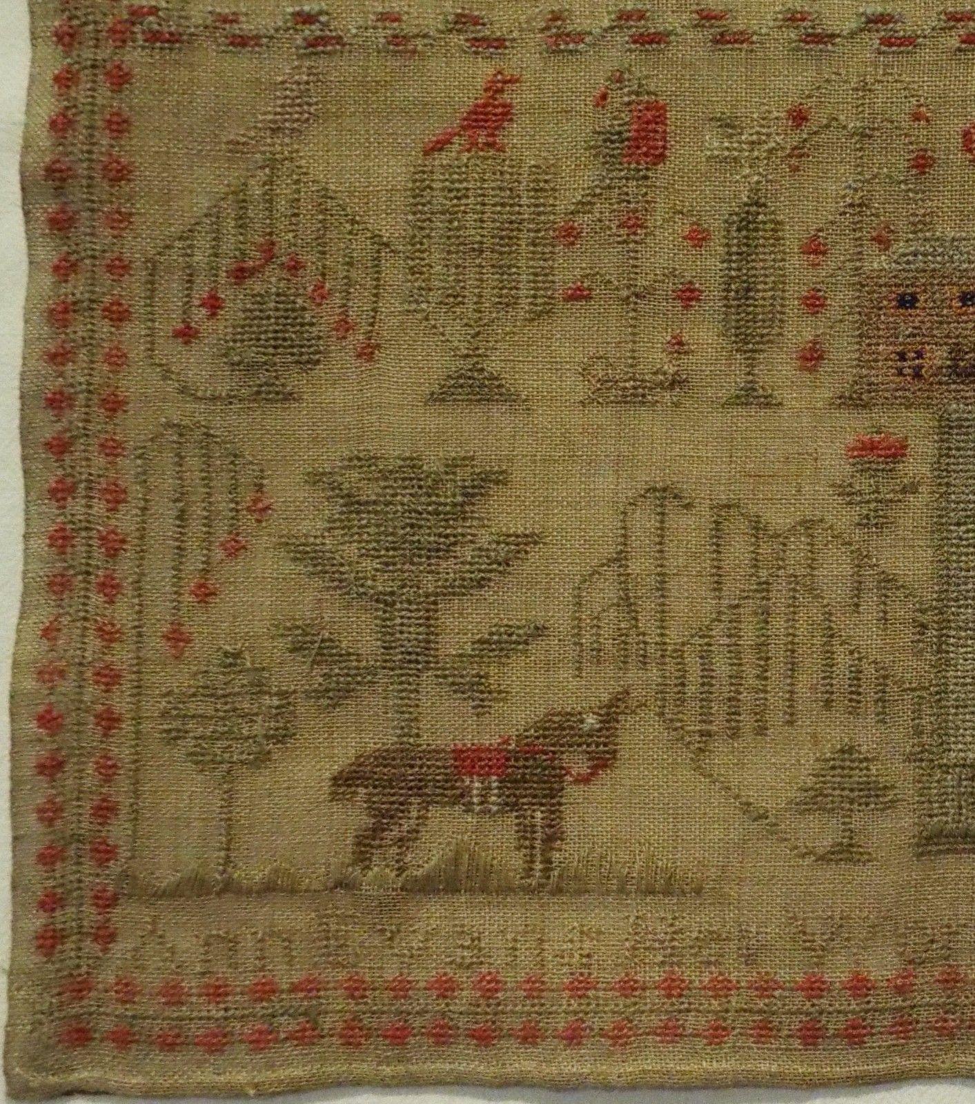 Early/mid 19th century house, horse & hymn sampler by ann evans aged ...