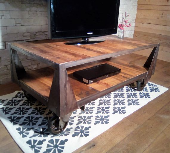 Meuble Tv Industriel Table Basse Industrielle Roulettes Fonte