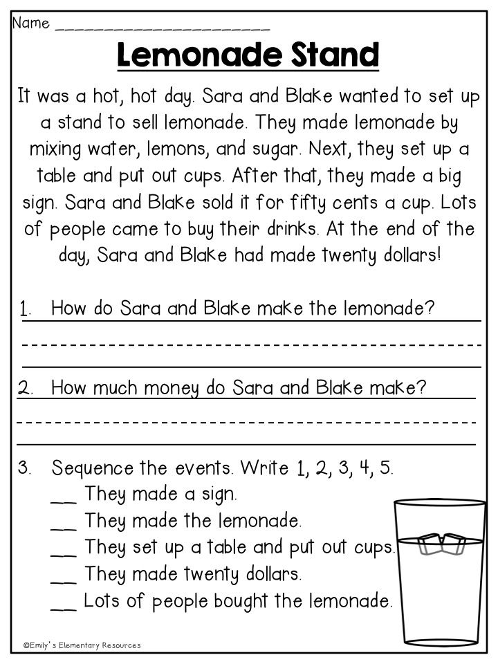 Summer First Grade Review Printables Reading Comprehension