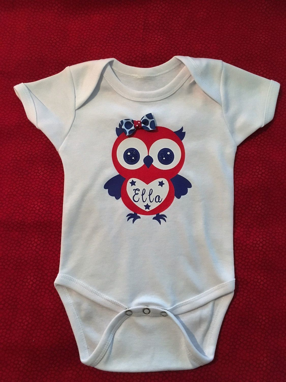Infant Girls July 4th Monogrammed Onesie by CayannaLueli on Etsy