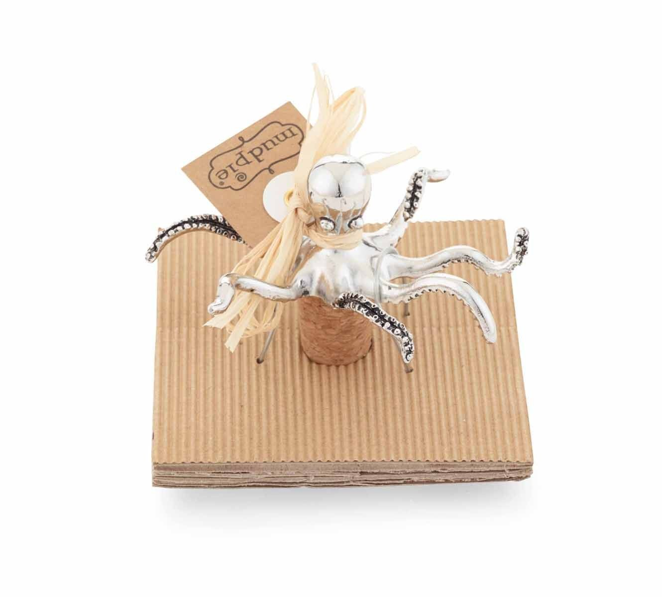 mud pie octopus bottle topper - Graceful metal octopus floats atop cork bottle stopper. Comes on rolled corrugate card.