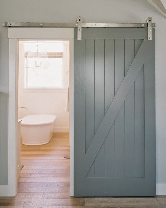 Barn Door Bathrooms  Gray Painted Halfbuck Wood Slider On The Brilliant Barn Door For Bathroom 2018