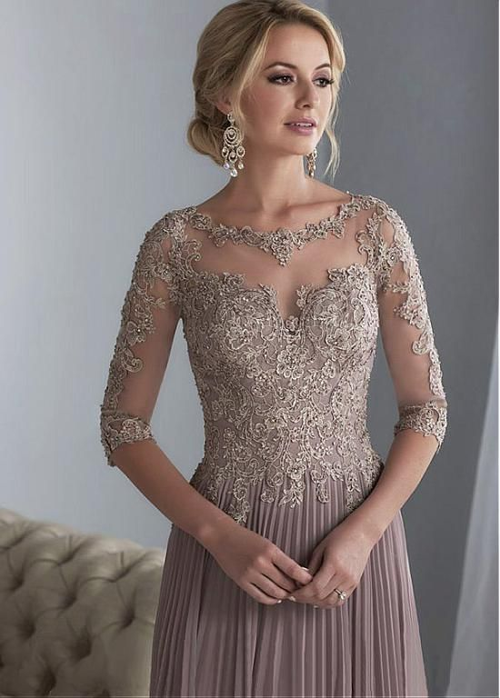 DressilyMe Bridal Dresses Online,Wedding Dresses Ball Gown, exquisite tulle chiffon scooneckline floor length a line mother of the bride dresses with beaded lace appliques
