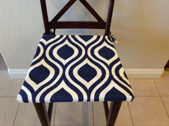 Indigo Navy Blue On White Seat Cushion Cover By Brittaleighdesigns Update Your Home In An Instant With Ne Seat Cushion Covers Kitchen Chair Pads Seat Cushions