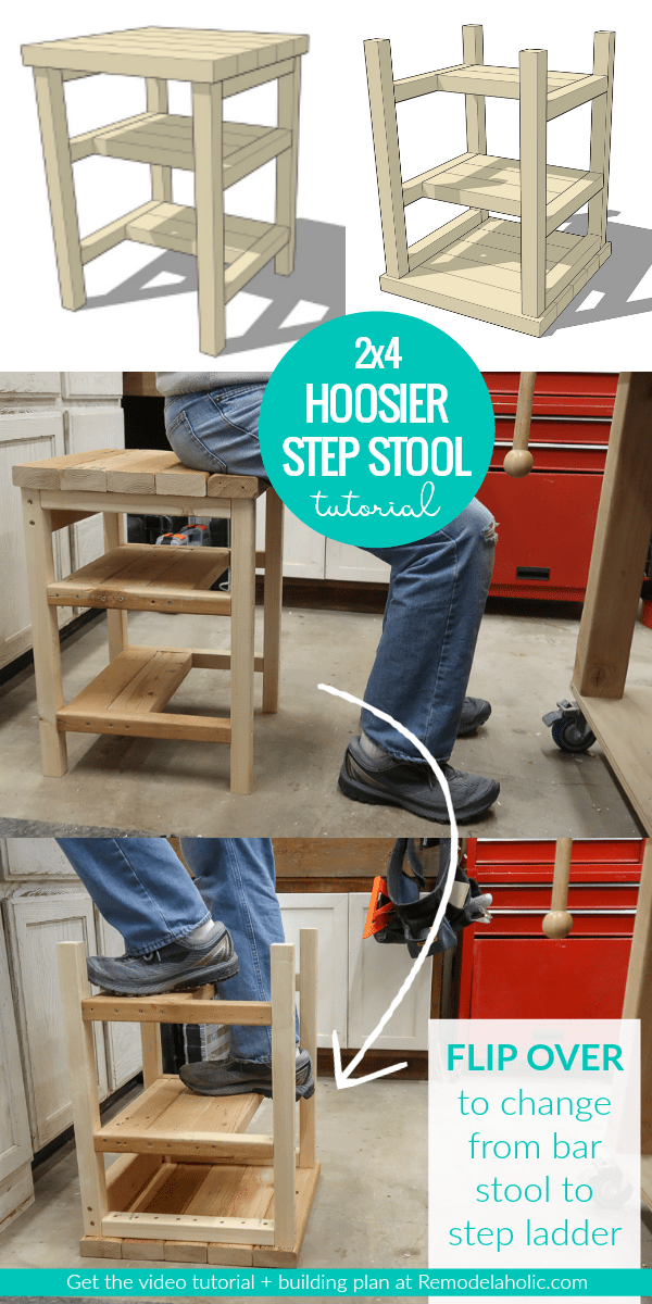 Diy 2 4 Bar Stool And Step Ladder Combo Hoosier Step Stool