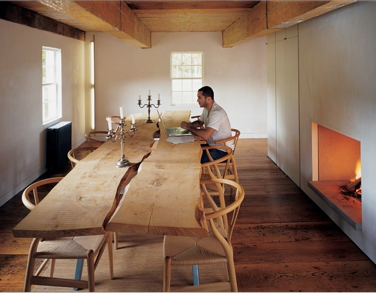 Very cool and rustic - slab-table-wishbone-chairs | Great Ideas ...