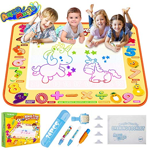 Amazon Com Tecboss Aqua Magic Mat Kids Painting Writing Doodle Board Toy Colorful Water Drawing Pad Mess Free Toys By Age Age Appropriate Toys Magic Doodle