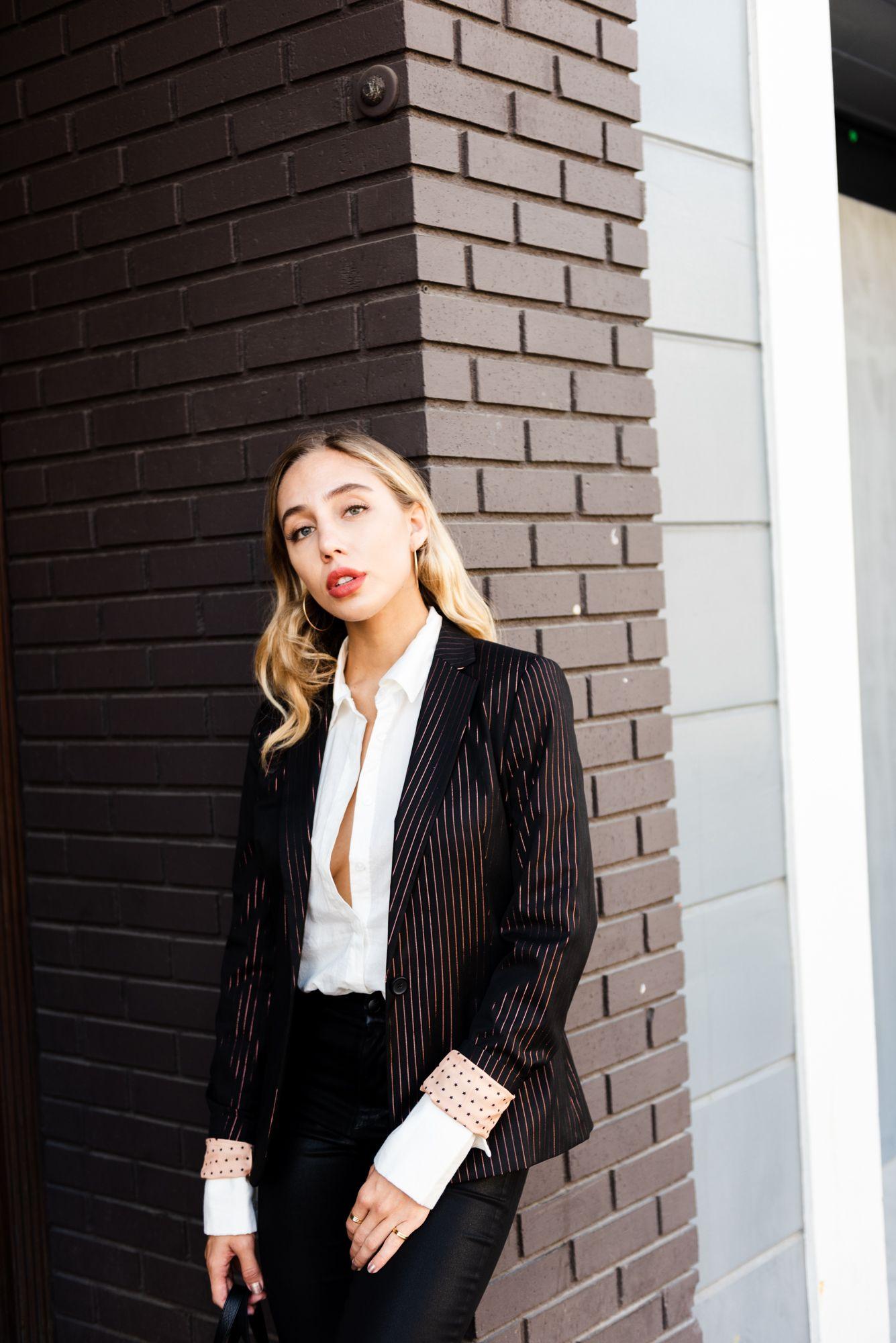 a86464056b41 Outerwear Outfits Classic Blazer Tailored Blazer Scotch and Soda Blazer  White Button Down Shirt PAIGE CLEMENCE