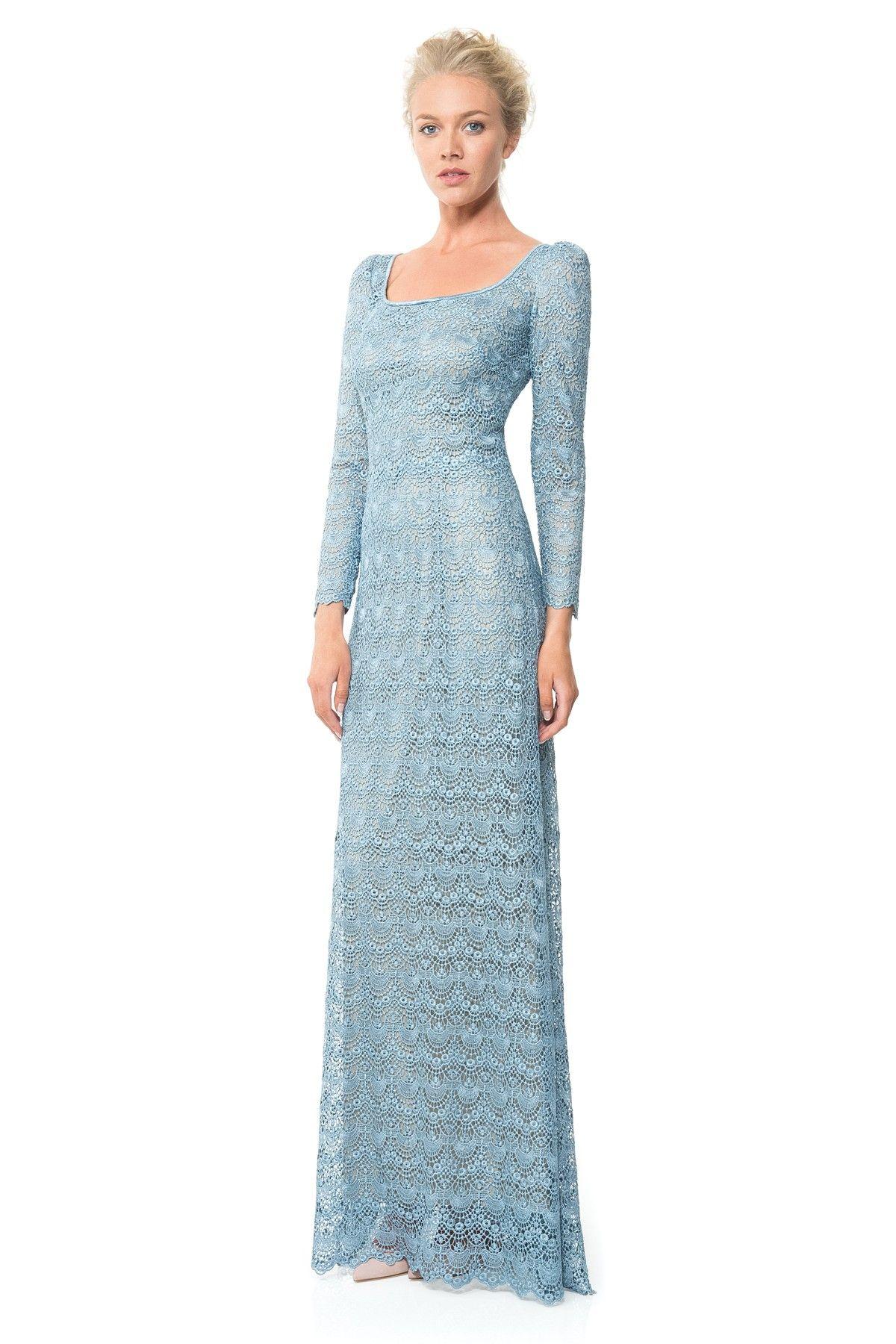 Scallop lace longsleeve gown shop tadashi shoji a formal