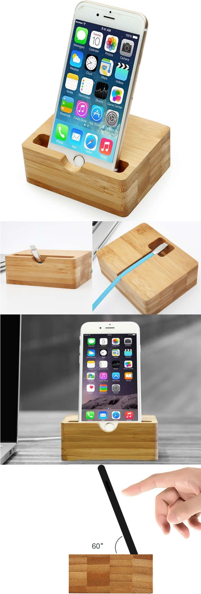 Wooden Bamboo Charge Cord Cable Organizer Cell Phone iPhone Charging ...