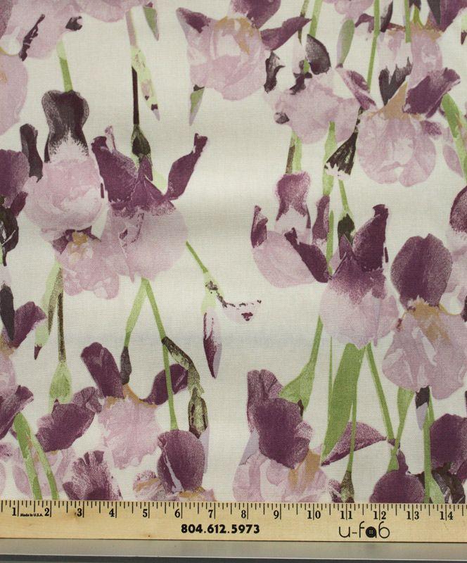 Marn Purple Purple Fabric Iris Flowers Floral Print Fabric