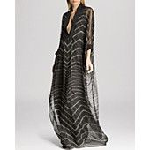 Luv this it's very flowy and easy to wear #HALSTON #HALSTONHERITAGE Gown - Chevron Stitch Detail Caftan #bloomingdales