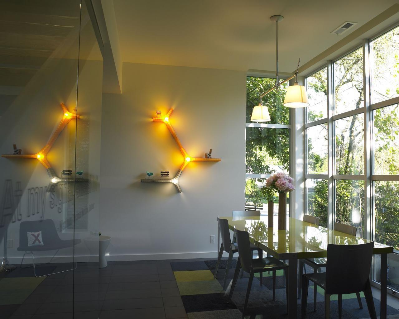 Windows wall light flor carpet tiles words on glass interiors