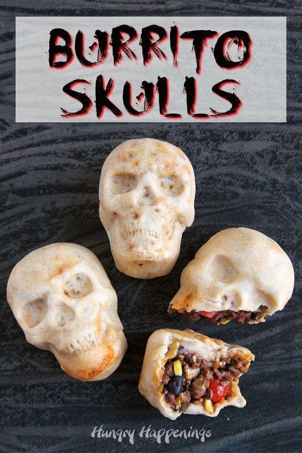 Burrito Skulls...creepy Halloween dinner or appetizer! | Hungry Happenings