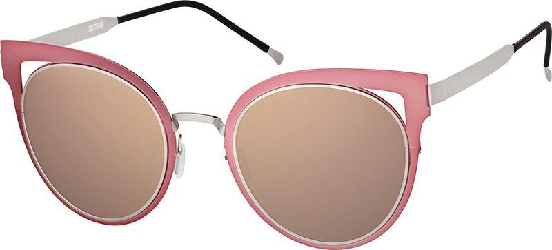 662e49a5bf3f0 Zenni Womens Cat-Eye Prescription Eyeglasses Pink Stainless Steel ...