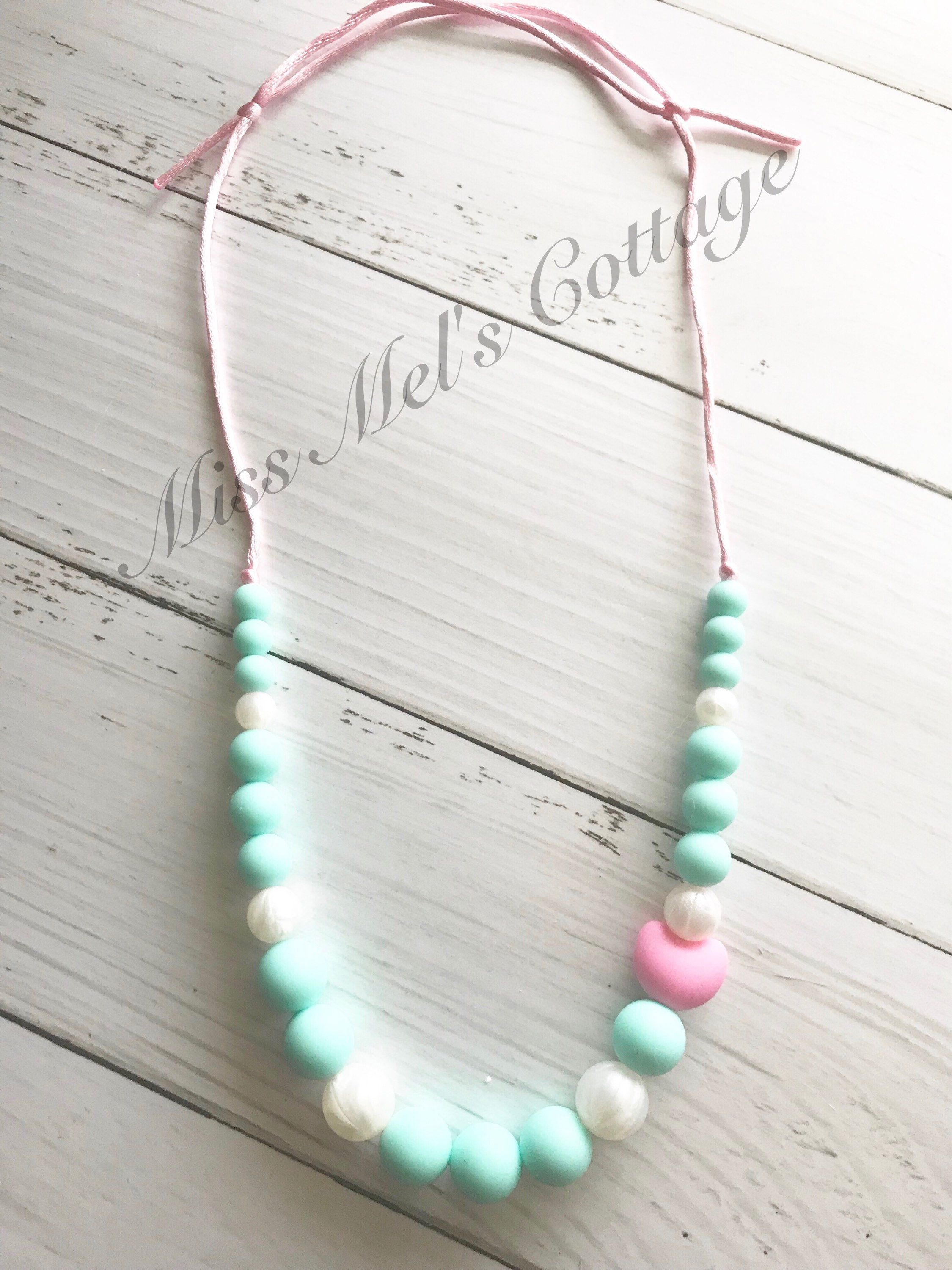 c44bce7e8f213 Adjustable Sweet Mints with Pink Heart Teething Necklace/Sensory ...