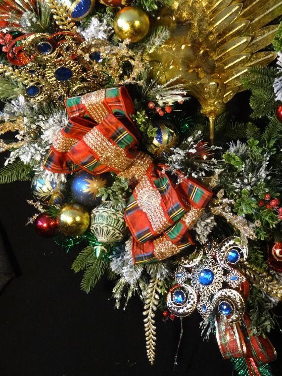 Elegant Large Lighted Christmas Wreath,Jeweled Ornaments ...